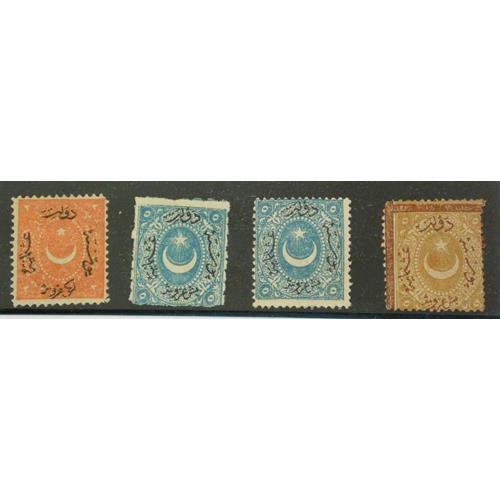 Turkey Duloz 1868 2Pi Brick Red. 2Pi Brown  Postage Due. 5Pi Blue x2.