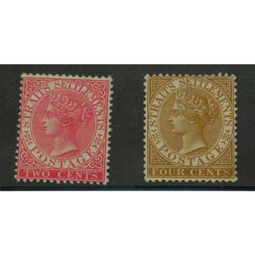 Straits Settlements Malaya 1883 2 cents Rose  and 4 cents Brown.