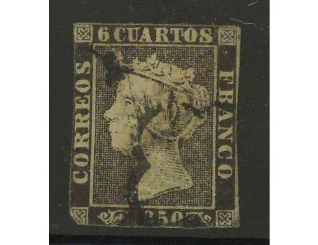 Spain Isabel 11 1850 6 Cuartos Black. Used.