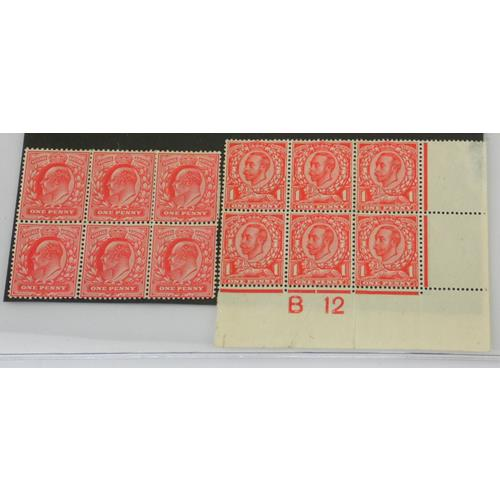 Great Britain Edward VII Mint Block of 6 1d  Red SG 219. Also KG V Mint Marginal Block of  6
