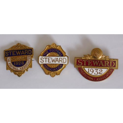 Scarce FA STEWARD'S BADGES 1927,1928 & 1932  to cover all FA matches