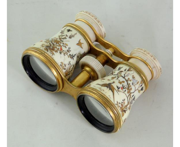 Antique Pair of  Japanese Shibayama Ivory  Opera Glasses. 19thc.