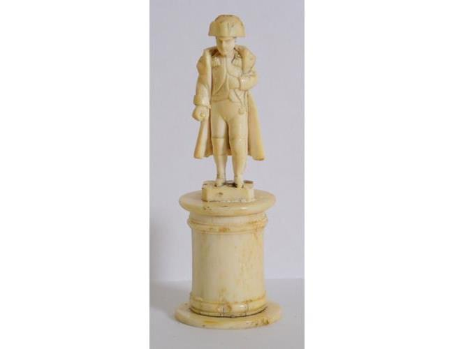 An early 19th Century Dieppe Carved Ivory  Figure of Napoleon Bonaparte