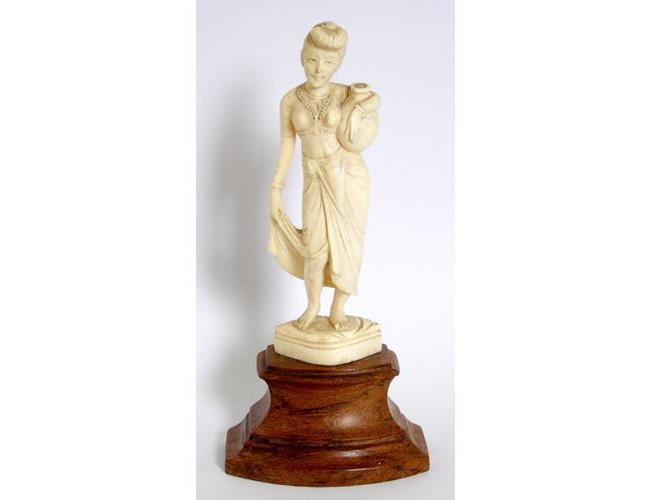 Antique Asian Carved Ivory 'Water Carrier'  Figure