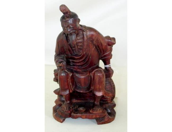 Antique Chinese Fisherman Wood Carving with  Glass Eyes.