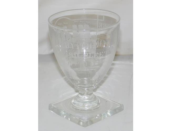 A Naval Interest Glass Rummer, Circa 1704.   Finely engraved with 2 men o'war