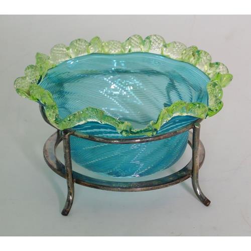 Victorian Blue Swirl Glass Bon Bon Dish with  Green Ruffled Edge