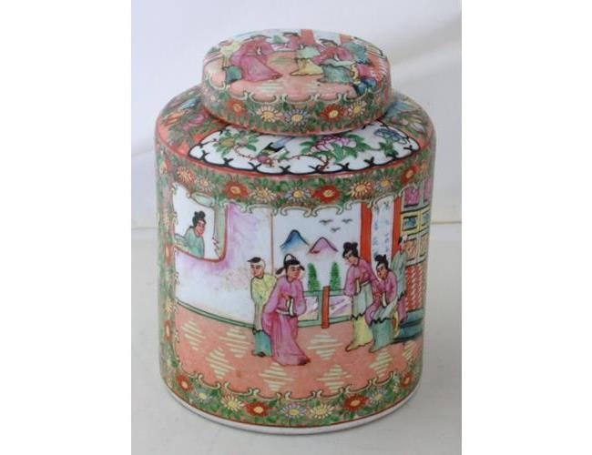 Good Antique Chinese Cantonese Famille Rose  Large Ginger Jar & Cover. 19thc.