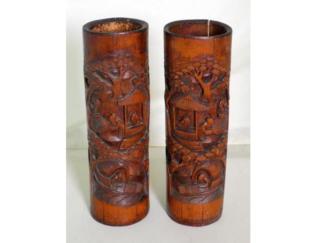 A Pair of Chinese Tall Bamboo Brush Pots.  Circa 1900