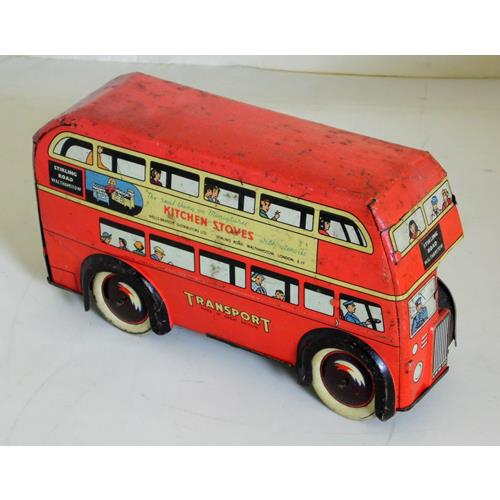 Brimtoy Tinplate Clockwork London Double  Decker Bus