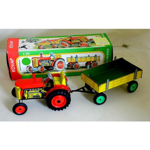 Kovap Tinplate ZETOR Tractor with Trailer.  No.0395.