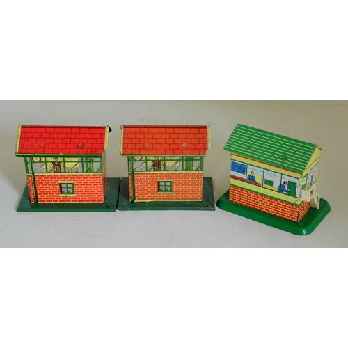Brimtoy Tinplate Signal Boxes. 1940s.