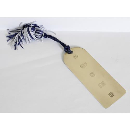 Carrs Silverware Sterling Silver 'Luggage  Tag' Bookmark with Silk Tassle