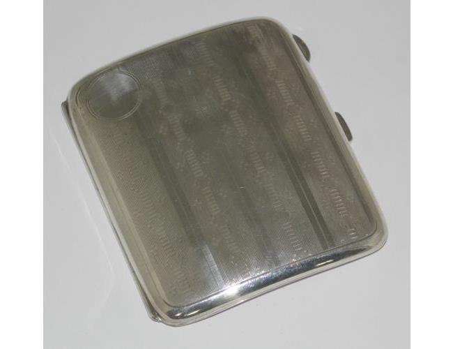 Fine Sterling Silver Gilt  Curved Engine  Turned Cigarette Case