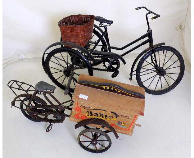 Vintage Metal Hand Made Model Three Wheel Bicycles.