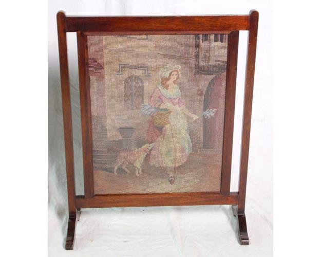 Vintage Mahogany Framed Woolwork Fire Screen.   25.5 x 20.5 in.