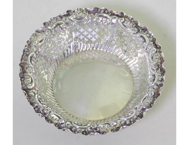 Antique Sterling Silver Pierced Repousse Bon  Bon Dish