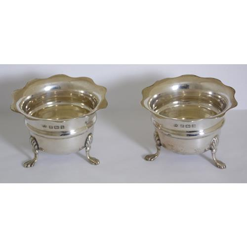 A Pair of Antique Sterling Silver Open Salt  Cellars