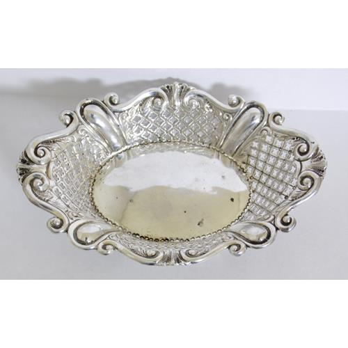 Victorian Sterling Silver Pierced Bon Bon  Dish by James Dixon.