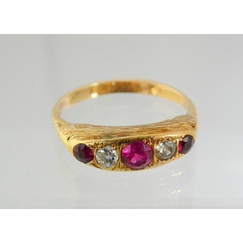 Antique 18ct Yellow Gold Ruby,Garnet &  Diamond Ring.