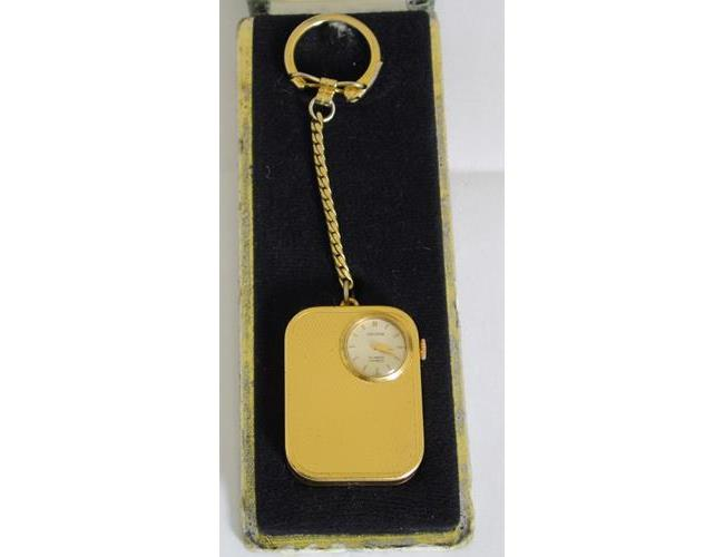 Vintage Reuge St. Croix Gold Tone Key Chain  Orator Watch and Music Box.