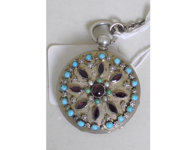 A Good Mottu Freres Geneve Silver Gilt Ladies  Pocket Watch