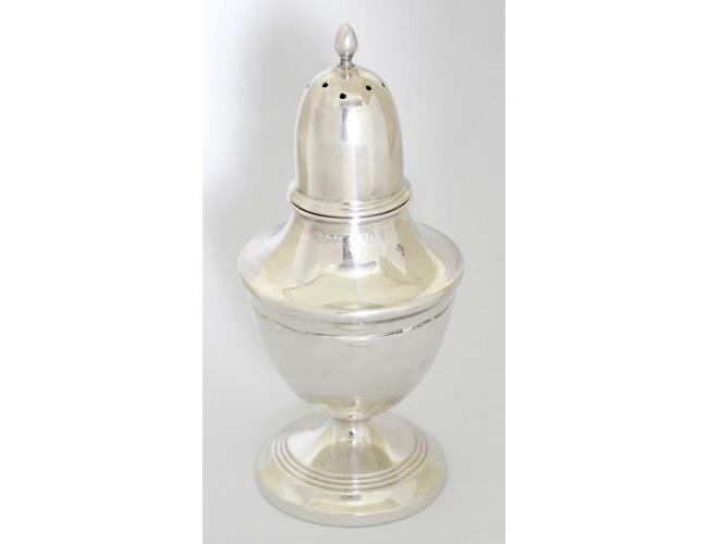 Large Sterling Silver Pepper Pot by Deykin &  Harrison. Hallmarked Birmingham 1930.  Height  12cm.