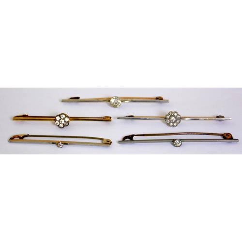 Antique Collection of Gold & Gold Plated  Bar  Tie Pins Mounted with White Stones.