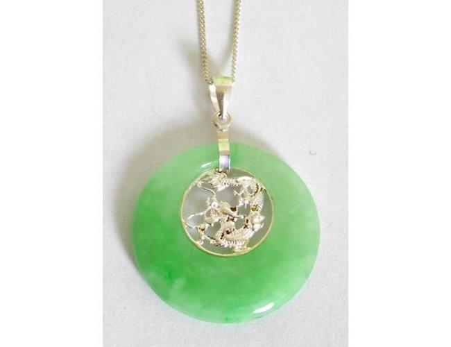 Sterling Silver Mounted Jade Dragon Pendant  on 17.5 Inch Silver Chain. Boxed
