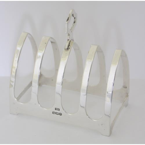 Emile Viner Sterling Silver Art Deco 4 Slice  Toast Rack.