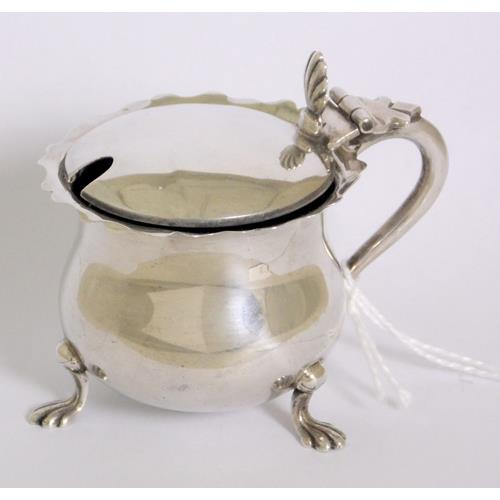 Edwardian Sterling Silver Mustard Pot with  Bristol Blue Glass Liner .