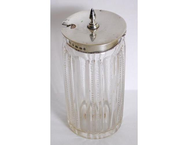 Victorian Mustard Pot  with Sterling Silver  Hinged Cover/Rim on Cut Crystal Pot