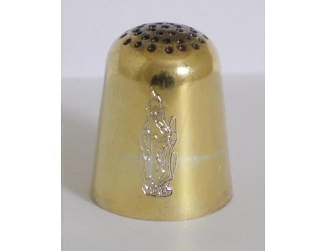 Silver Gilt Thimble with Engraved Armorial  Crest by Thomas Kerr Ebbutt.
