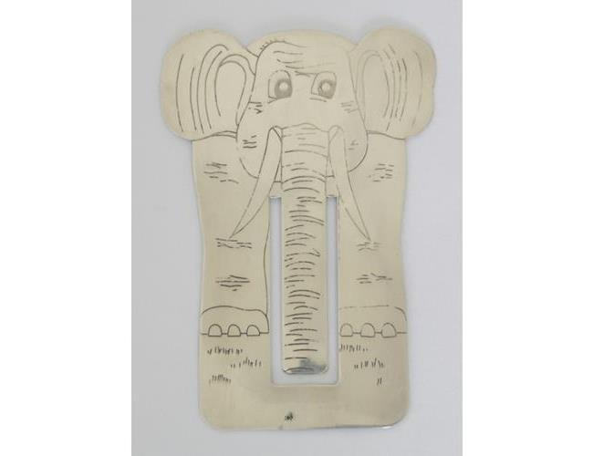 Large Sterling Silver Engraved Elephant  Bookmark by Harrison Brothers & Howson.