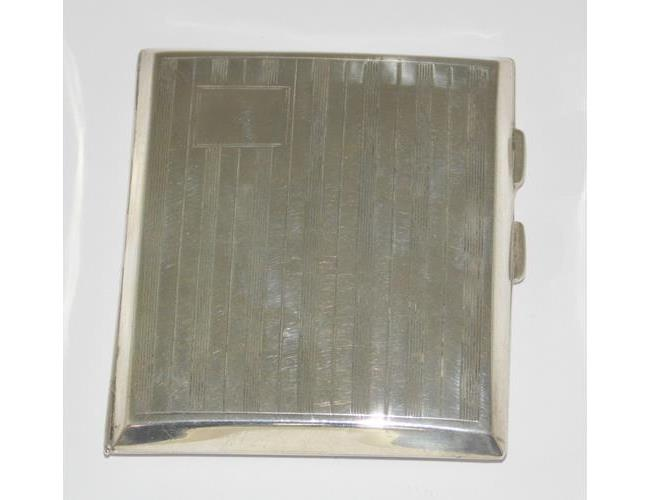 Fine Art Deco Sterling Silver Gilt  Curved  Engine Turned Cigarette Case