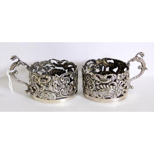 A Pair of Edwardian Sterling Silver Tot Glass  Holders