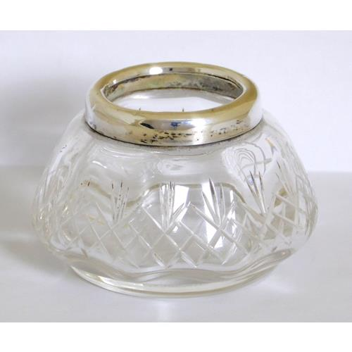 Sterling Silver Mounted Cut Crystal Open Salt  Cellar . Hallmarked Chester 1915.