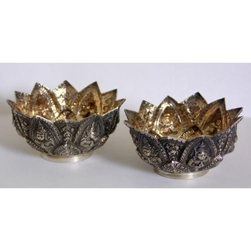 A Pair of Antique Indian Silver Repousse Open  Salts