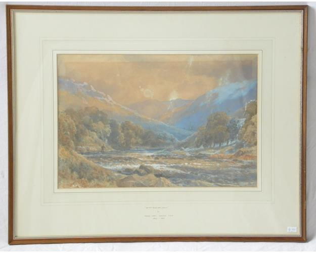 Attributed Watercolour Titled 'On The River  Dee,Wales' by George Lionel Bchrend RBA