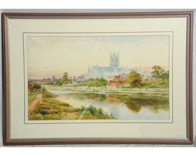 Watercolour 'Worcester Cathedral' . 20thc.