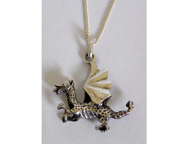 Sterling Silver Welsh Dragon Pendant on 19  inch Silver Chain. Marked .925.  Boxed.