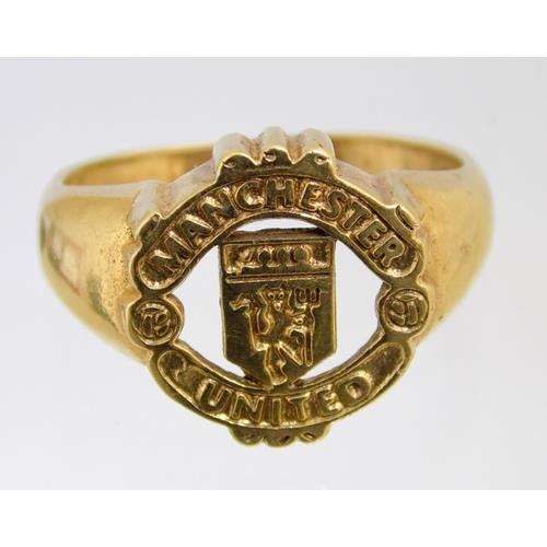 9ct Yellow Gold Manchester United Mens Cignet  Ring. Hallmarked .375.