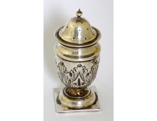 Antique Sterling Silver Gilt Repousse Pepper  Pot by  Deakin & Francis.