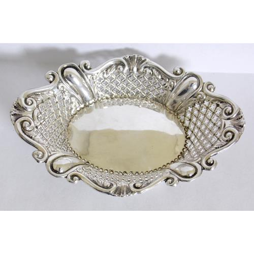 Victorian Sterling Silver Pierced Bon Bon  Dish by James Dixon.