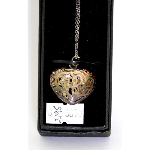 Sterling Silver Art Nouveau Style Heart  Shaped Pendant & Chain.