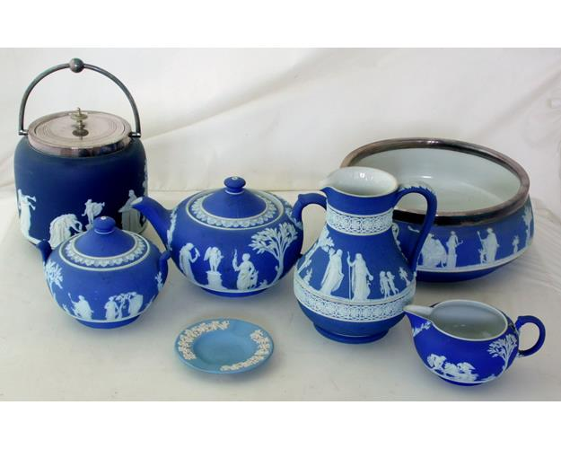 Collection of Wedgwood Blue Jasperware