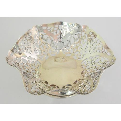 Sterling Silver Pierced Ruffled Edge Bon Bon  Dish by S.J.Rose & Son.