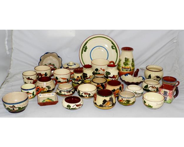 Collection of Torquay Motto Ware Vases,Sugar  Bowls, Cups Etc..