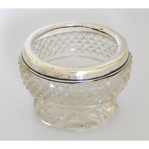KG V Sterling Silver Rim Cut Glass Open Salt  Cellar on Pedestal Foot