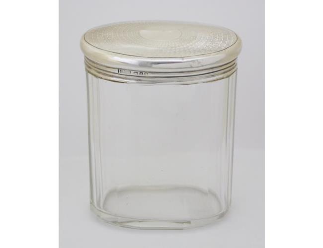 KG V Finnigans Sterling Silver & Oval Ribbed  Glass Dressing Table Jar.